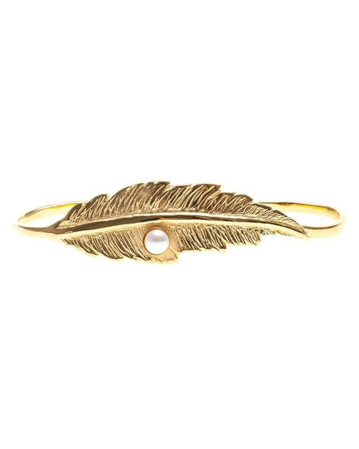 Leivan Kash | Metallic Feather And Pearl Hand Bracelet | Lyst