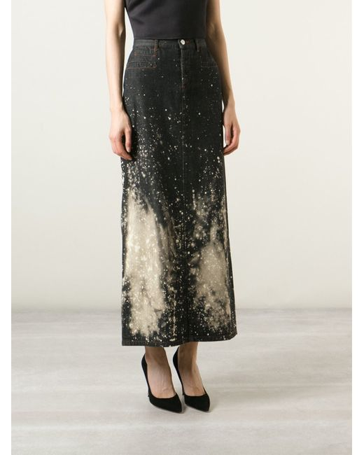 jean paul gaultier jpg bleached denim skirt in black lyst