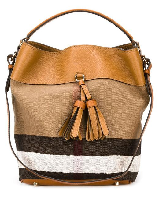 Burberry | Brown Medium Check Canvas Tote | Lyst