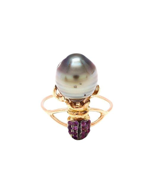 Daniela Villegas | 18k Pink Gold Amethyst & Pearl Khepri Ring | Lyst