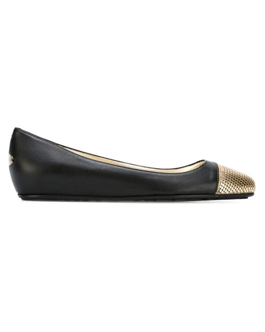 Jimmy Choo | Metallic Waine Embellished Leather Ballet Flats | Lyst