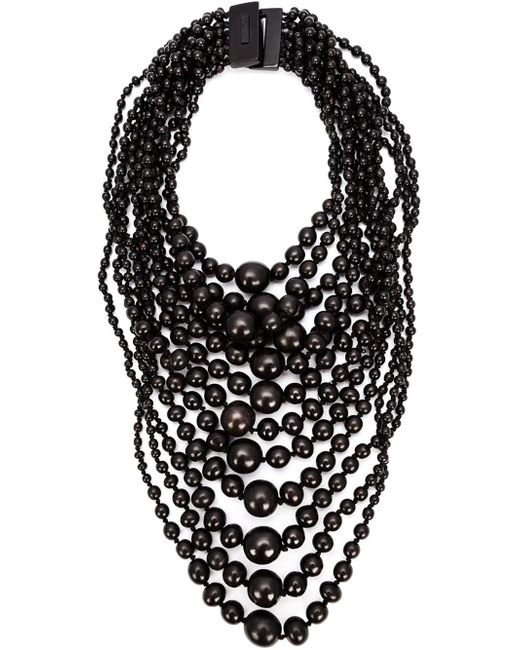 Monies | Black Tiered Round Bead Necklace | Lyst
