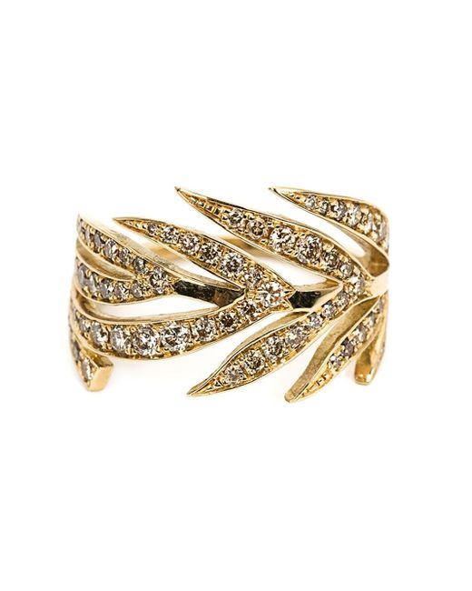 Marc Alary   Metallic Diamond Leaf Ring   Lyst