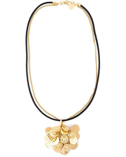 Versace | Black Medusa Coin Necklace | Lyst