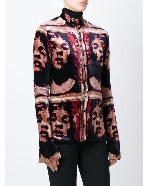 Jean paul gaultier printed velvet shirt in red lyst for Red velvet button up shirt