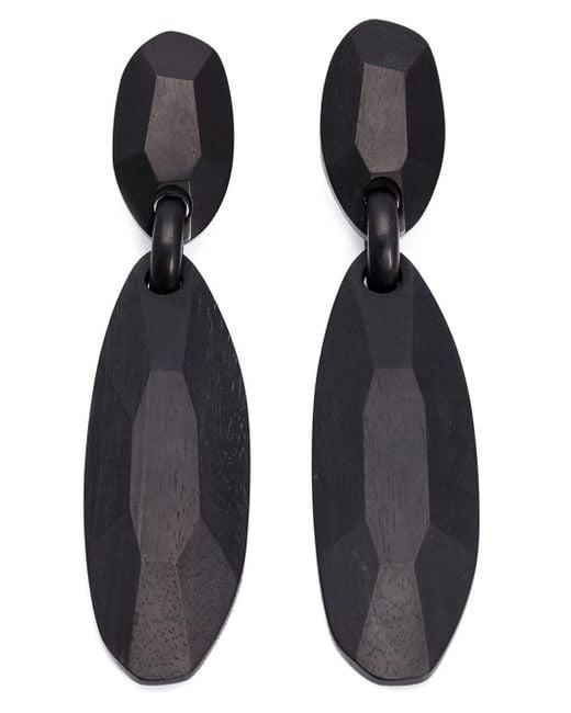 Monies | Black Facet Pendant Clip On Earrings | Lyst