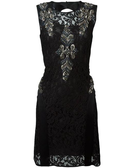 Alberta Ferretti | Black Beaded Lace Dress | Lyst