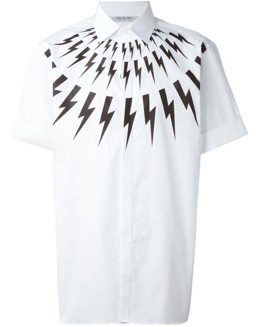 Neil Barrett | White Lightning Bolt Print Shirt for Men | Lyst