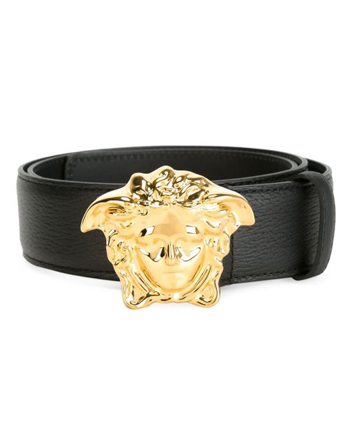 Versace | Black 'palazzo Medusa' Studded Belt | Lyst