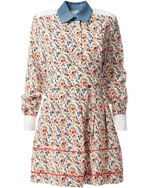 Fendi monogram print shirt dress in multicolor white for Initials on dress shirts