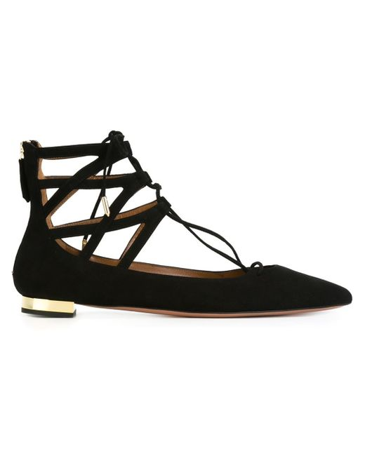Aquazzura | Black Belgravia Flat Suede Ballerinas | Lyst