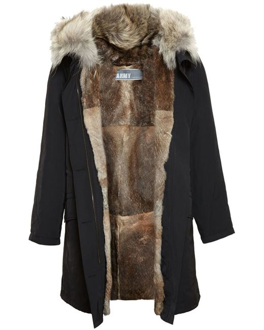 Army by yves salomon Rabbit Fur Lined Parka in Black