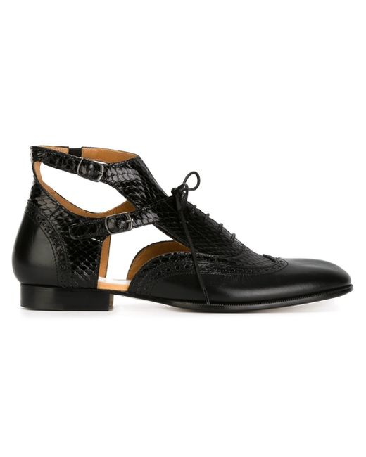 Maison Margiela Ankle Strap Oxford Shoes In Black Save
