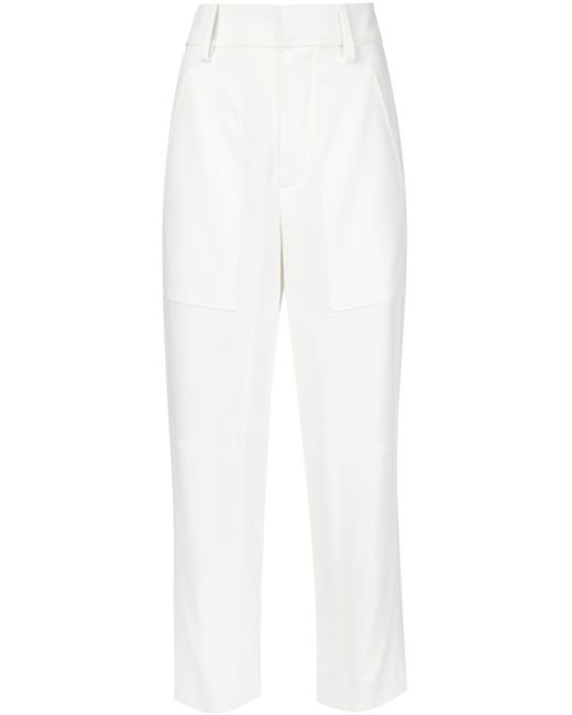 Chloé   White Metallic-flecked Tweed And Linen-blend Wide-leg Pants   Lyst