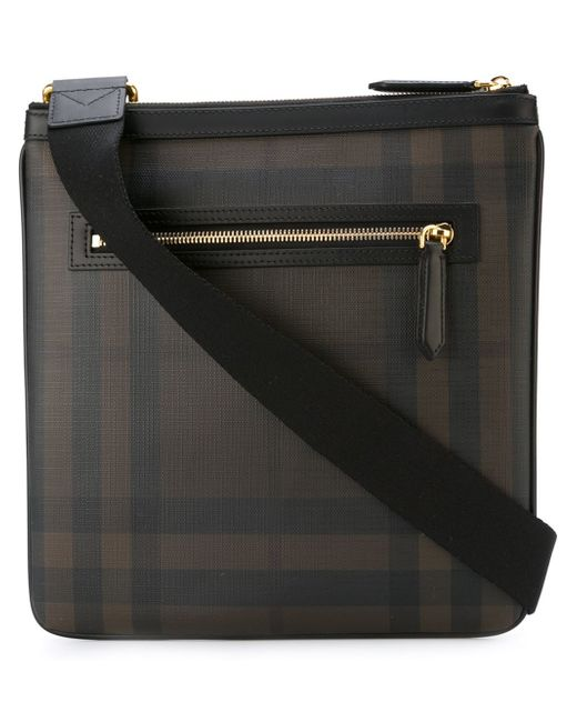 burberry checked messenger bag in black for lyst