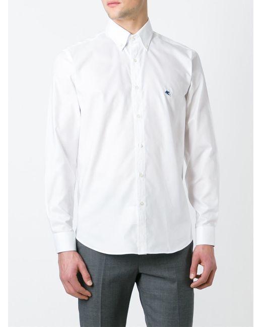 Etro button down collar shirt in white for men lyst for White button down collar shirt