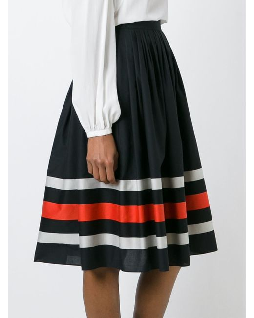 ferragamo striped a line skirt in black lyst