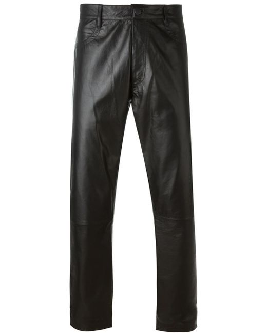 Ann Demeulemeester Leather Trousers In Black For Men