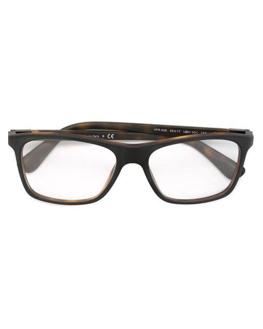 Prada Rectangular Frame Glasses in Black for Men (BROWN ...