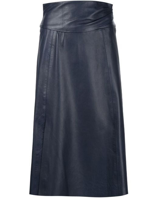 martin grant high waisted mid length skirt in blue save