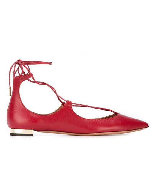 Aquazzura | Pink 10mm Christy Lace-up Nappa Leather Flats | Lyst