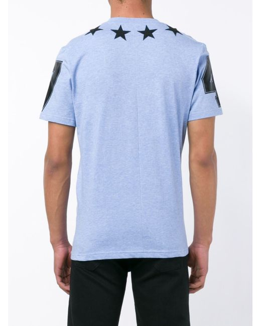 Givenchy star appliqu t shirt in blue for men save 19 for Givenchy 5 star shirt