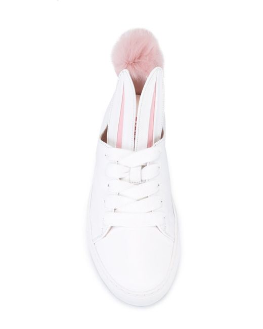 Minna Parikka Bunny White Leather Trainers Size 6 In