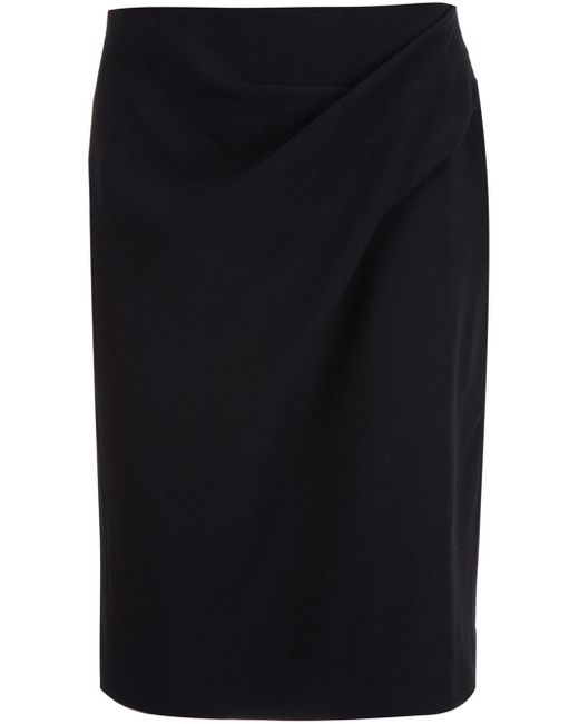 Lanvin | Black Ruched Detail Pencil Skirt | Lyst