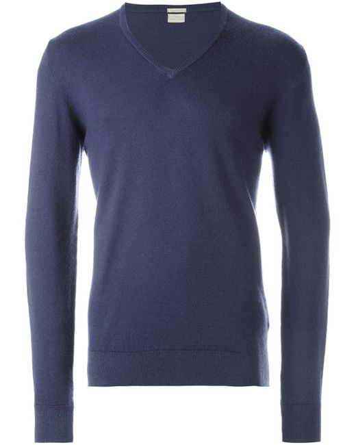 Massimo Alba | Blue V-neck Sweater for Men | Lyst
