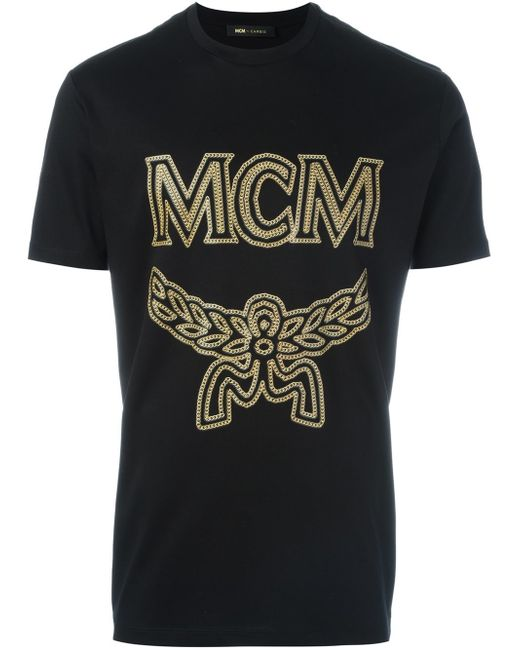 Mcm logo print t shirt in black for men lyst for Shirts with logo print
