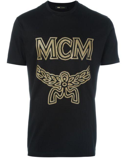 Mcm logo print t shirt in black for men lyst for Print logo on shirt