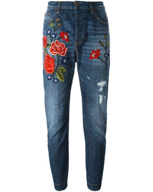 Twin Set Rose Embroidery Boyfriend Jeans In Blue Lyst