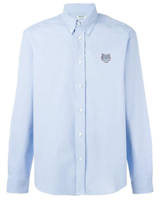 KENZO | Blue Mini Tiger Button Down Shirt for Men | Lyst