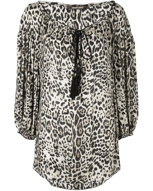Roberto Cavalli | Black Leopard Print Blouse | Lyst