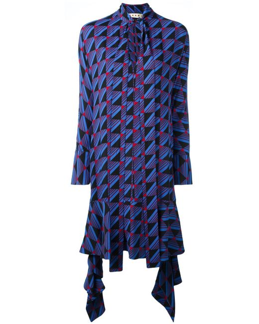 Marni   Blue Geometric Pattern Dress   Lyst