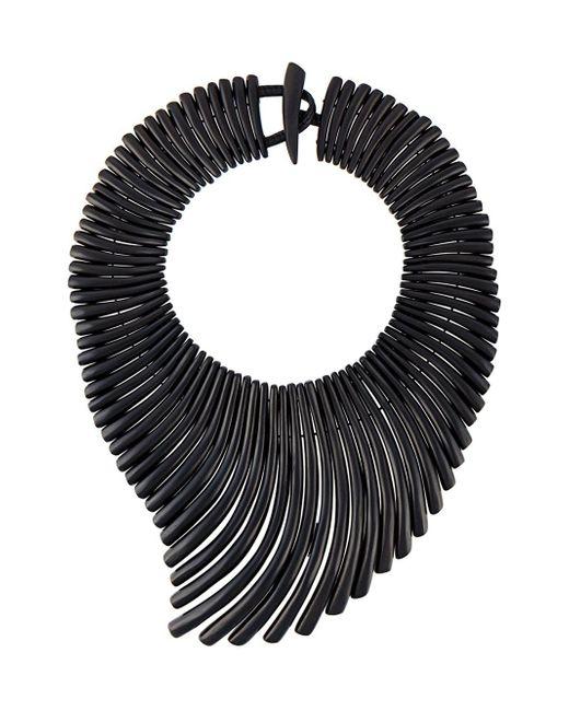 Monies | Black 'wave' Effect Necklace | Lyst