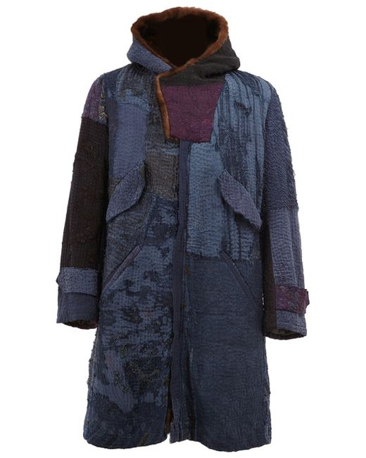 By Walid | Blue - Embroidered Hooded Coat - Men - Silk/cotton/mink Fur - S for Men | Lyst
