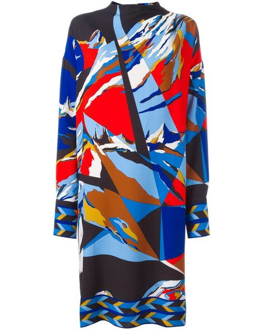 Emilio Pucci | Multicolor Abstract Print Dress | Lyst