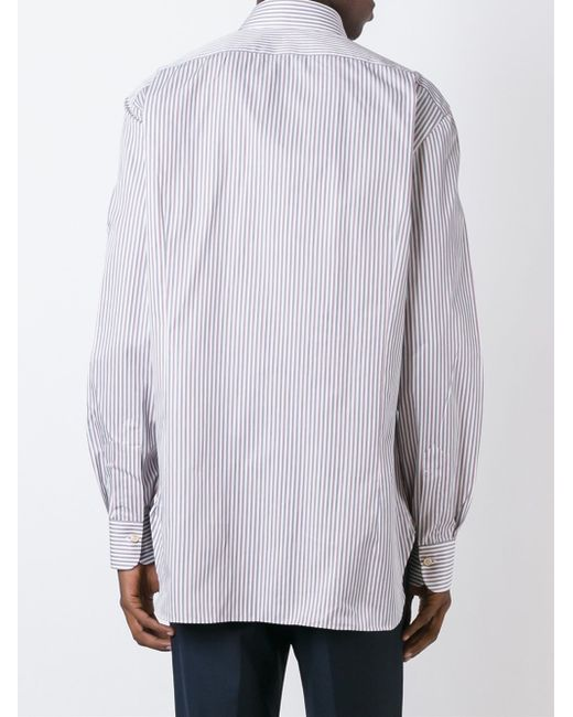 Kiton striped button down shirt in blue for men lyst for Red and white striped button down shirt