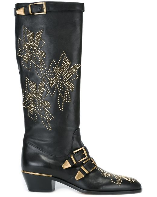Chloé | Black Susanna Leather Knee-High Boots | Lyst