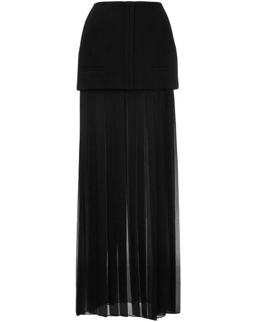 vera wang box pleat maxi skirt in black lyst