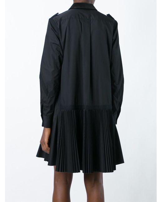 Sacai pleated poplin shirt dress in multicolor black lyst for Black pleated dress shirt