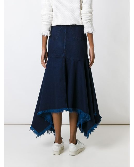 marques almeida frayed asymmetric denim skirt in blue