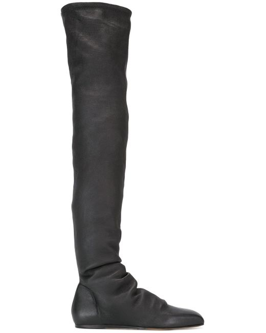 Rick Owens | Black Thigh Length Flat Boots | Lyst