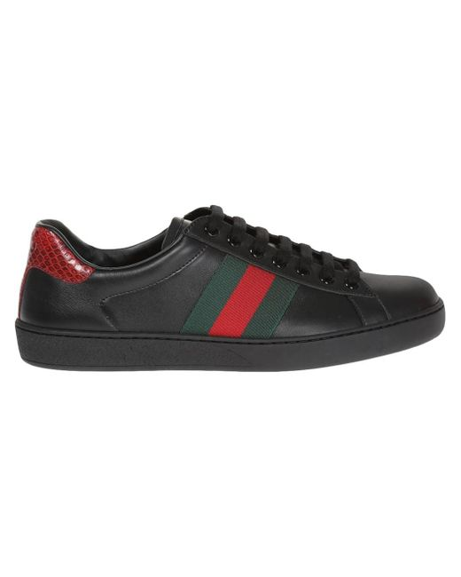 gucci ace leather low top sneaker in black for men lyst. Black Bedroom Furniture Sets. Home Design Ideas