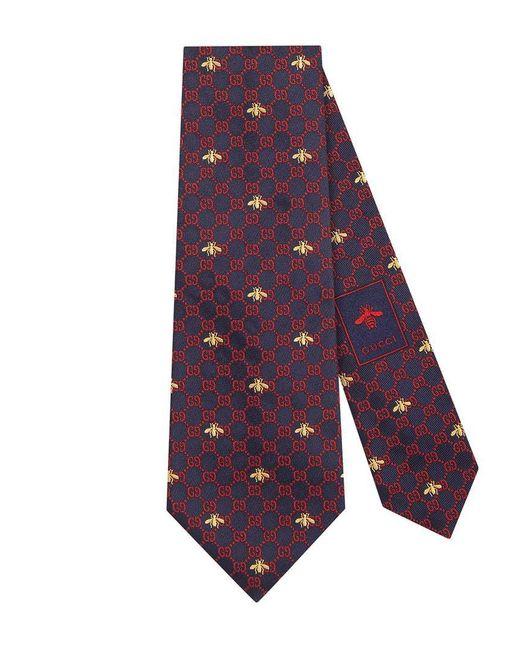 Gucci - Blue Corbata de Seda con GG y Abejas for Men - Lyst