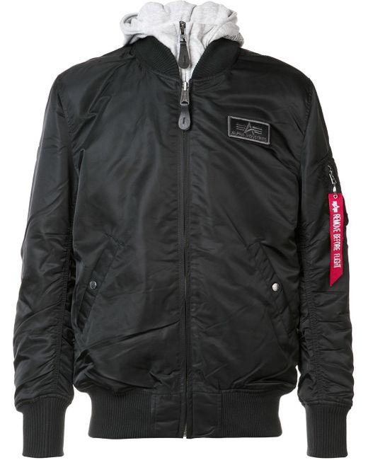 alpha industries removable hoodie bomber jacket in black. Black Bedroom Furniture Sets. Home Design Ideas