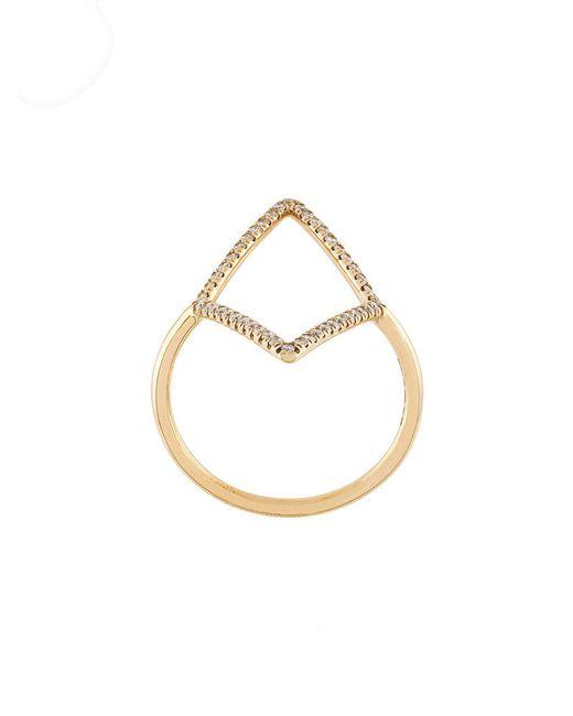 Diane Kordas - Metallic Diamond Shaped Outline Ring - Lyst