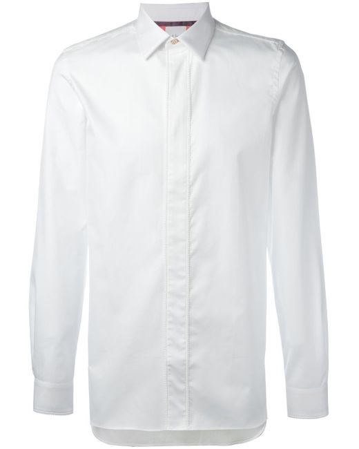 Paul Smith   White Concealed Fastening Shirt for Men   Lyst