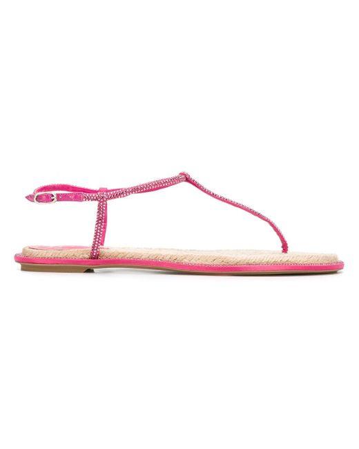 Rene Caovilla | Pink Embellished Flat Sandals | Lyst